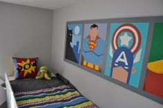 super hero bedroom by Simon the pics can be substituted for superhero posters