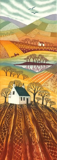Country Reflections etching mounted by Northumberland artist Rebecca Vincent. Available in my online shop mounted and framed