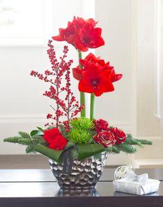 Luxury Christmas Amaryllis and Rose Arrangement