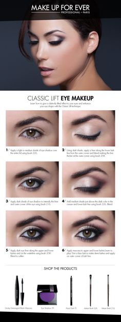 Classic Lift Eye Makeup- gives a distinctly lifted look to your eyes. Would use a different color than purple but like the shape