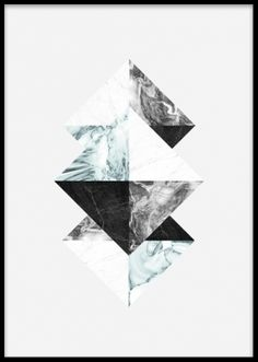 Graphic print with triangles, Graphical poster with triangles on a grey background. Stylish design with a marble pattern in blue and grey tones. Match this poster with our other posters in the same series to create an interesting and personalized wall collage. Desenio.co.uk
