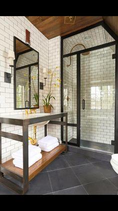 Bathroom idea. Subway tile with gray tile floor