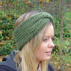 Cable knit turban headband earwarmer pattern