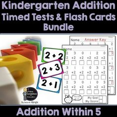 Kindergarten Addition Flash Cards and Timed Tests Bundle- Addition within 5 Kindergarten Flash Cards, Math Flash Cards, Kindergarten Addition, Subtraction Kindergarten, Addition Flashcards, Math Fact Practice, Math Drills, Math Fact Fluency, Addition Facts