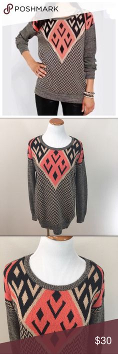 """Ecote Intarsia Pullover Aztec Sweater Small Ecote Intarsia Pullover Aztec Pattern Black Pink Sweater Small. Excellent condition! Clean and comes from smoke free home. Questions welcomed! Armpit to armpit: 19.25"""" across Length: 26.5"""" Urban Outfitters Sweaters Crew & Scoop Necks"""