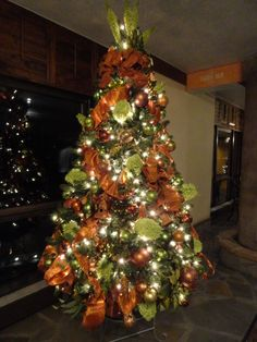 christmas tree with our team green and orange colors - Orange Christmas Decorations