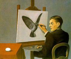 René Magritte - La Clairvoyance - 1936. http://jpdubs.hautetfort.com/archive/2007/05/15/surrealisme.html