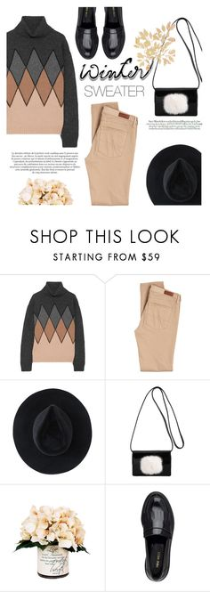 """#wintersweater"" by riennise ❤ liked on Polyvore featuring Prada, AG Adriano Goldschmied, Ryan Roche, Yves Saint Laurent, Kerr®, Maroc, Creative Displays and Nine West"