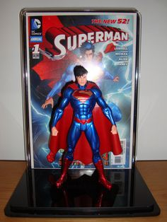 Premium Collectable Display Case: New 52 Superman Metallic Variant Action Figure & Action Comics #1 Jim Lee Variant Comic Book
