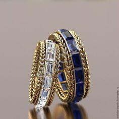 Купить Обручальные кольца с драгоценными камнями - золотой, Кольца на заказ, свадебные украшения, обручальные кольца