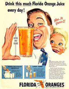 1951- drink orange juice! 1950's, advertising, magazine