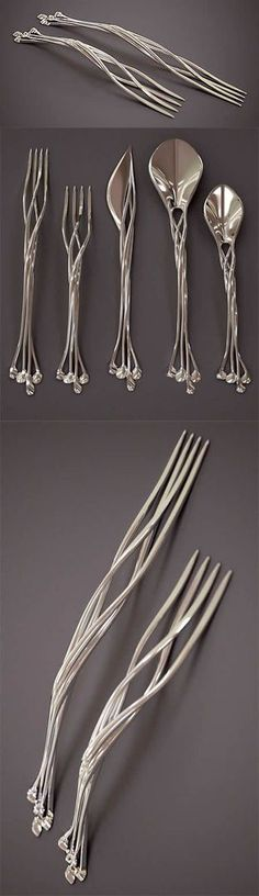 Unusual And Creative Printed Silverware. Francis Bitonti Studio has a bold idea to make the best silverware in the world. They use their cutting edge printed technology to make beautiful knife, forks, and spoons made out of four interlocked metal strands. Home Design, Design Art, Design Ideas, Smart Design, Print Design, Elvish, 3d Prints, Interiores Design, Home Deco