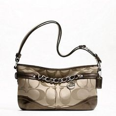 Coach F19724 Khaki/Bronze Signature E/W Chain Duffle Handbag,