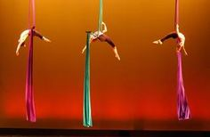 Participants worked with low-flying trapeze (single point) and with colorful aerial silks (fabric).