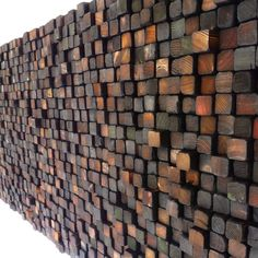 Colored and Burnt Wooden Wall Sculpture - Smoke Damaged Stack - Blackened Earth Tones