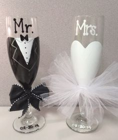 Wedding Toasting Glasses for the Bride and Groom, Mr. and Mrs. Champagne Flutes for Bridal, Wedding, or Engagement Gift by MakeItFierce on Etsy