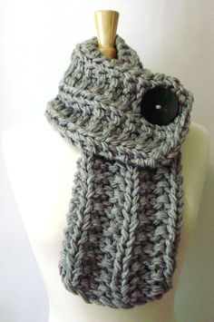 Light Grey Chunky Knit Cowl Scarf with Large Black Button by LaurasLovelyKnits, $39.00