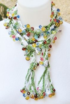 Long green crochet necklace scarf with crystal cut beads. Fancy long green beaded scarf.