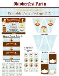 German Oktoberfest Personalized Invitation Printable Party Package DIY