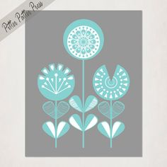 Modern Nursery Flowers // Mid-Century Scandinavian Inspire Floral Design // Mod Baby Girl's digital drawing // teal and grey