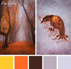 Find beauty in the spooky season with this Fire & Fog color inspiration.