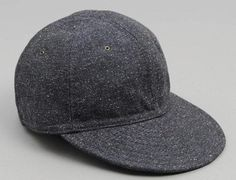 Navy Cotton Herringbone Tweed Fitted Baseball Ball Cap by HILL SIDES