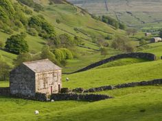 Typical Stone Barns Near Keld in Swaledale, Yorkshire Dales National Park, Yorkshire, England Photographic Print
