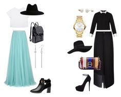 """""""Brother Challenge / Long skirt"""" by sacha15 on Polyvore featuring Jenny Packham, Maje, Giuseppe Zanotti, Ted Baker, Tory Burch, San Diego Hat Co., Yves Saint Laurent and Movado"""