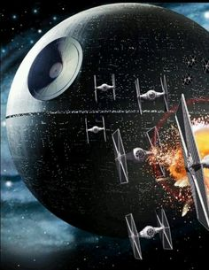 Death star and Tie fighters