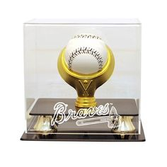 Atlanta Braves MLB Single Baseball Gold Ring Display