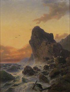 Andreas Achenbach - Sonnenuntergang auf einer felsigen Küste