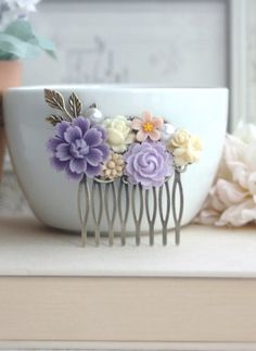 Shades of Purple, with Ivory, Brown Flower Collage Filigree Hair Comb. Vintage Style Comb. Bridesmaids Hair Accessories. Wedding Hair Comb.