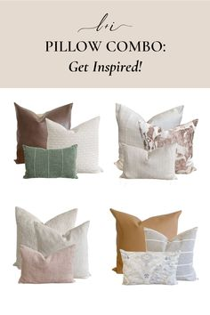 When it comes to home decor, your pillows can really make or break the room. We want you to have a pillow combination that is perfect for every space in your house. So we've created 4 of our favorite combinations from some of our best-selling throw pillows to inspire you. These simple yet elegant combos can liven up any space in your home. Which do you like best? Tap to shop at Linen & Ivory. Home Decor Bedroom, Diy Room Decor, Home Decor Inspiration, Decor Ideas, Personalized Pillows, Modern Farmhouse Decor, Perfect Pillow, Home Decor Styles, Cozy House