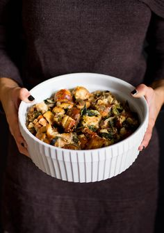 french bread stuffing w/ swiss chard & caramelized red onions