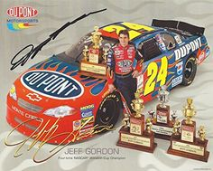 cool AUTOGRAPHED 2002 Jeff Gordon #24 DuPont Racing (Hendrick Motorsports) 4X CHAMPION Trophies Signed 8X10 NASCAR Photo Hero Card with COA