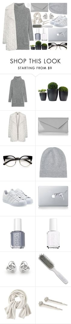 """""""Gray & white"""" by andreastoessel ❤ liked on Polyvore featuring TSE, Topshop, L.K.Bennett, Uniqlo, adidas Originals, Essie, Georgini, Kent, Wrap and Kim Rogers"""