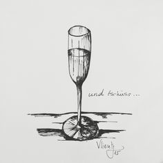 Champaign. Black ink drawing