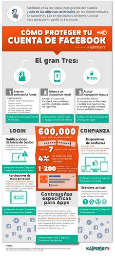 Cómo proteger tu cuenta de Facebook - vía http://blog.kaspersky.es/infografia-seguridad-en-facebook/