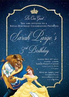 Disney Beauty and the Beast Princess Belle birthday party invitation invite digital printable. Provide me the details and I will create it for you! -------------------------------------------------------------------------------- First proof within 1-2 business days DIGITAL PRINTABLE. NO