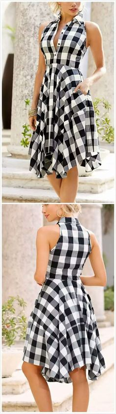 Black and white check dress Day Dresses, Cute Dresses, Casual Dresses, Short Dresses, Fashion Dresses, Summer Dresses, Mode Boho, African Fashion, Dress Skirt