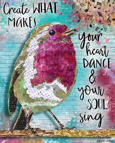 Create What Makes Your Heart Dance & Your Soul Sing Art Print by Jennifer Lambein. Collage Kunst, Collage Art, Canvas Collage, Mixed Media Collage, Mixed Media Canvas, Mixed Media Artwork, Mixed Media Painting, Art Journal Pages, Art Journals