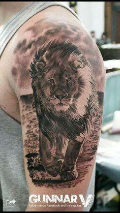 - Lion – lion – - Tattoo masculina de leão em realismo no braço (fechamento de braço). Trendiest Body Tattoos Designs You Should Try Wolf Tattoos, Lion Head Tattoos, Animal Tattoos, Body Art Tattoos, Tatoos, Tattoo Ink, Lion Tattoo Sleeves, Sleeve Tattoos, Icelandic Tattoo