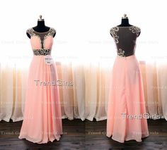 Hey, I found this really awesome Etsy listing at https://www.etsy.com/listing/201134743/pink-chiffon-a-line-long-prom-dresses