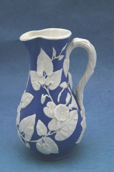 ♥ ~ ♥ Blue and White ♥ ~ ♥ Antique victorian Copeland parian ware jug