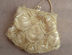Evening bag gold beaded scallop formal wear by wonderfulstore