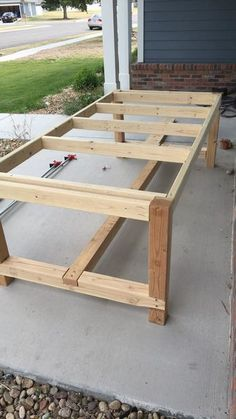 DIY Farmhouse Dining Table- DIY Farmhouse Dining Table We& all had that one project that our wives really push us to get done. For me, it was a huge DIY farmhouse dining table. This is something she& wanted for years… - Outdoor Farmhouse Table, Farmhouse Table Plans, Diy Outdoor Table, Modern Dining Table, Diy Table, Dining Room Table, Outdoor Rooms, Outdoor Dining, Outdoor Gardens