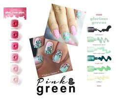 """""""Pink & green nail art"""" by chivastakken ❤ liked on Polyvore featuring beauty"""