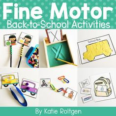 Back-to-School Fine Motor Activities | This download is great for your preschool or Kindergarten students to work on paper tearing, cutting, pinning, tracing, hole punching, linking with plastic links, bead stringing, pre-writing, stickers, tweezing, scooping, playdough snakes, and clothespin clipping. These eleven activities work great for small groups, morning tubs, centers, and more. Great for the beginning of the year or back to school with your preK and kinder students.
