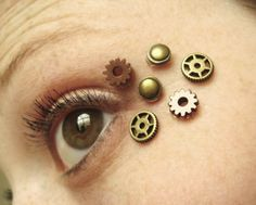 Post Apocalyptic Eye Decals features six miniature gears that I have attached to clear non permanent adhesive. The miniature gears come fixed to