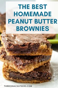 Homemade desserts are the best! These tasty chocolate peanut butter brownies are made from scratch.  This easy recipe uses cocoa powder for a rich chocolate base and is layered with a decadent peanut butter swirl. Easy Baking Recipes, Best Cookie Recipes, Brownie Recipes, Sweet Recipes, Snack Recipes, Dessert Recipes, Baking Tips, Candy Recipes, Chocolate Peanut Butter Brownies